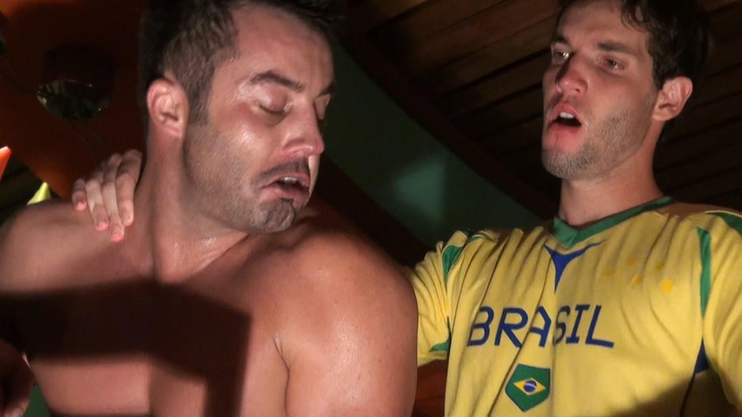 Football fans hump each other