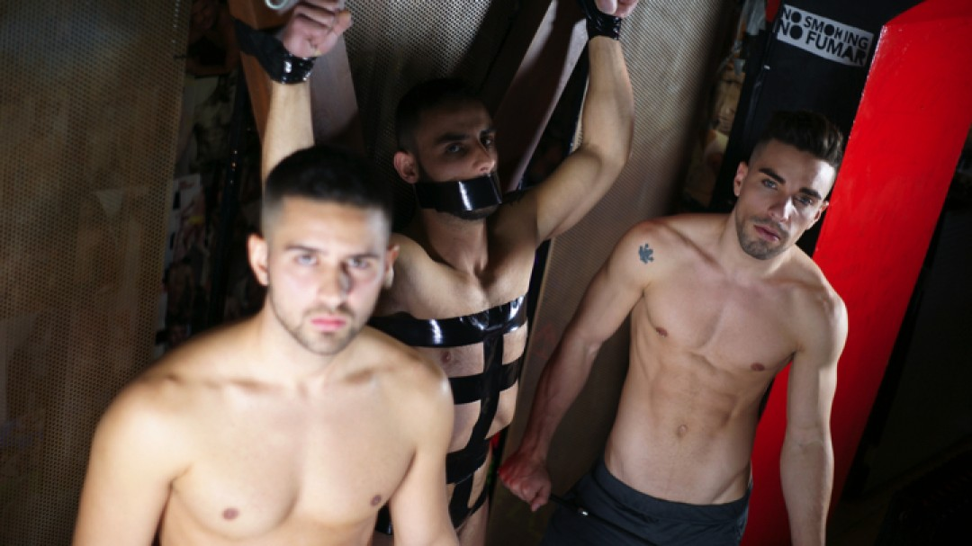 Josh Milk, Robbie Rojo, Evan Bull in a BDSM gay porn by hard kinks