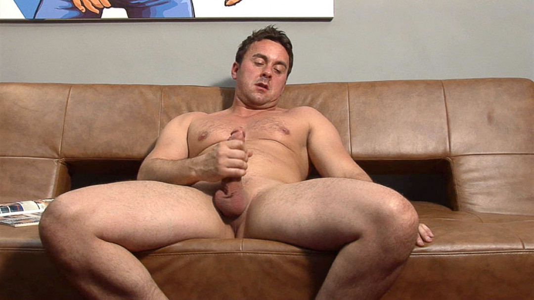 Stroking his big dick instead of working