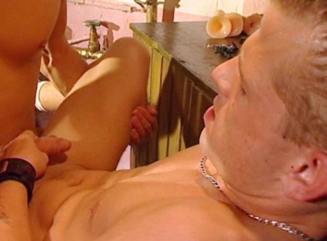 Nipple-clamps on horny boy