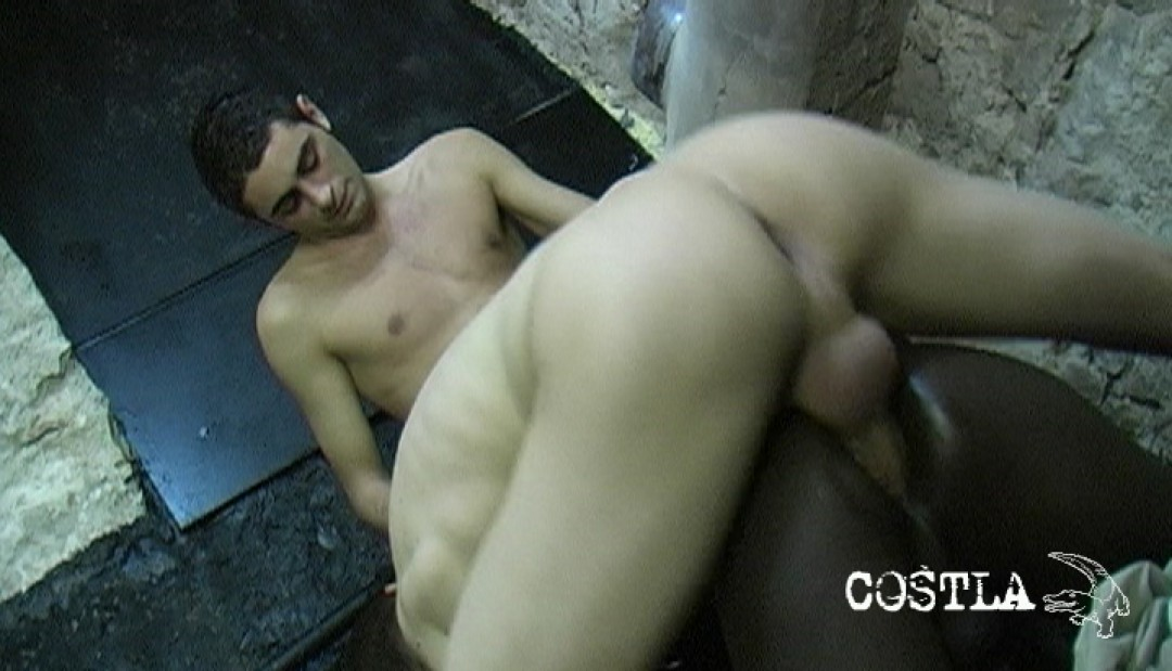 Black boy used by two hung tops