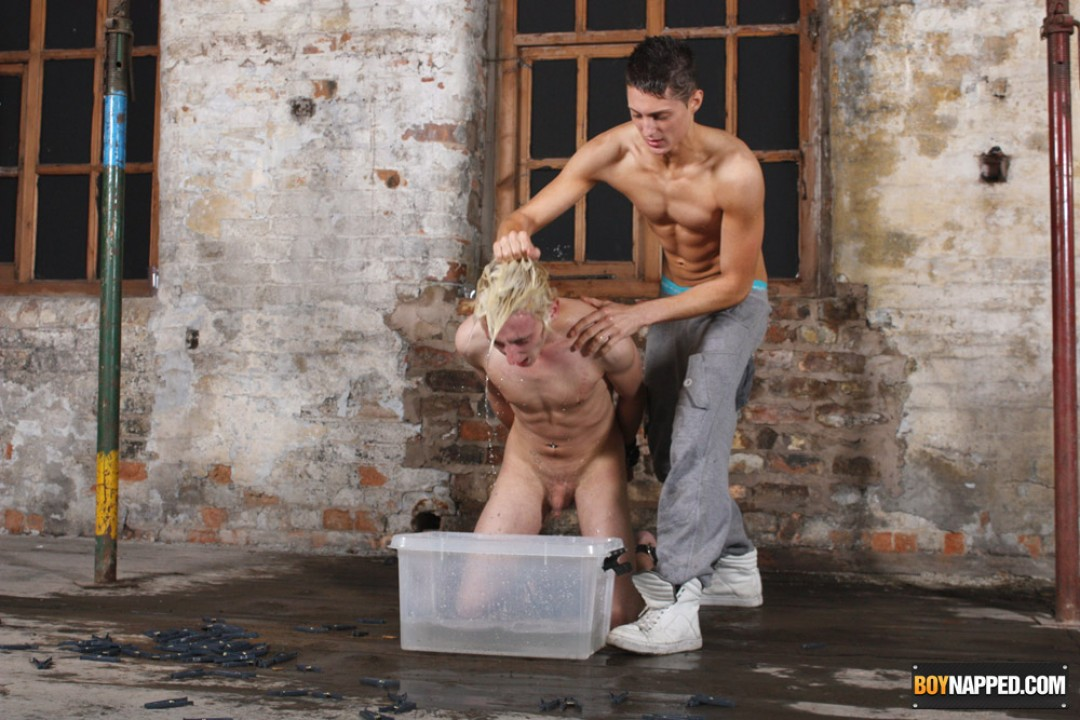 Young gay slave owned by pervers master