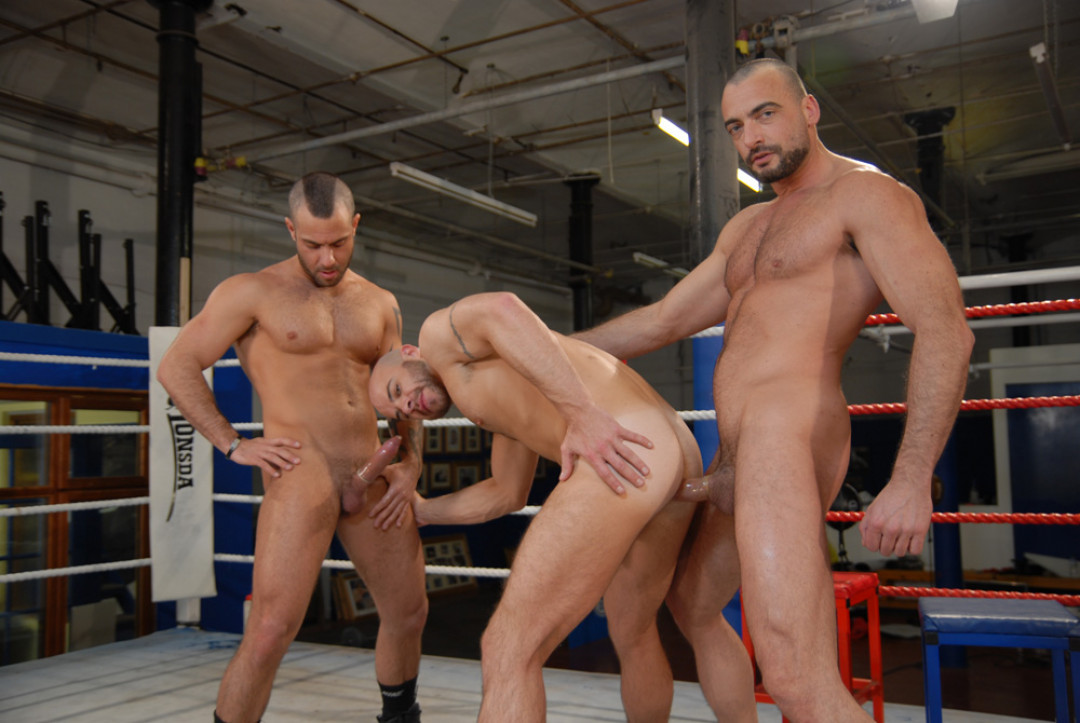Sweaty Gay Threesome at the boxing club