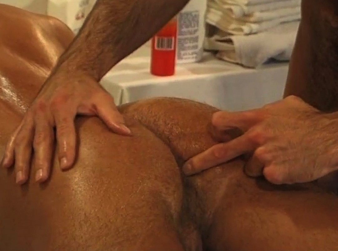 Ass massage, a little oil and loads of cum!
