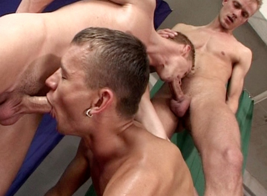 Sucking three roommate cocks