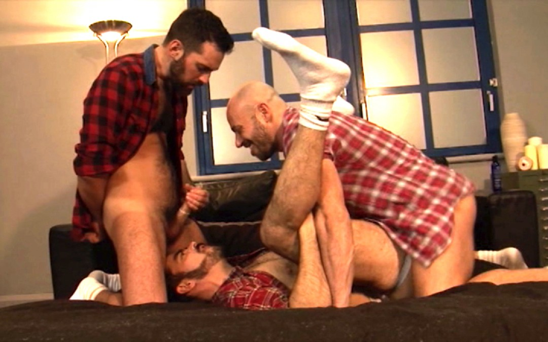 Three horn-dogs...hairy and sweaty