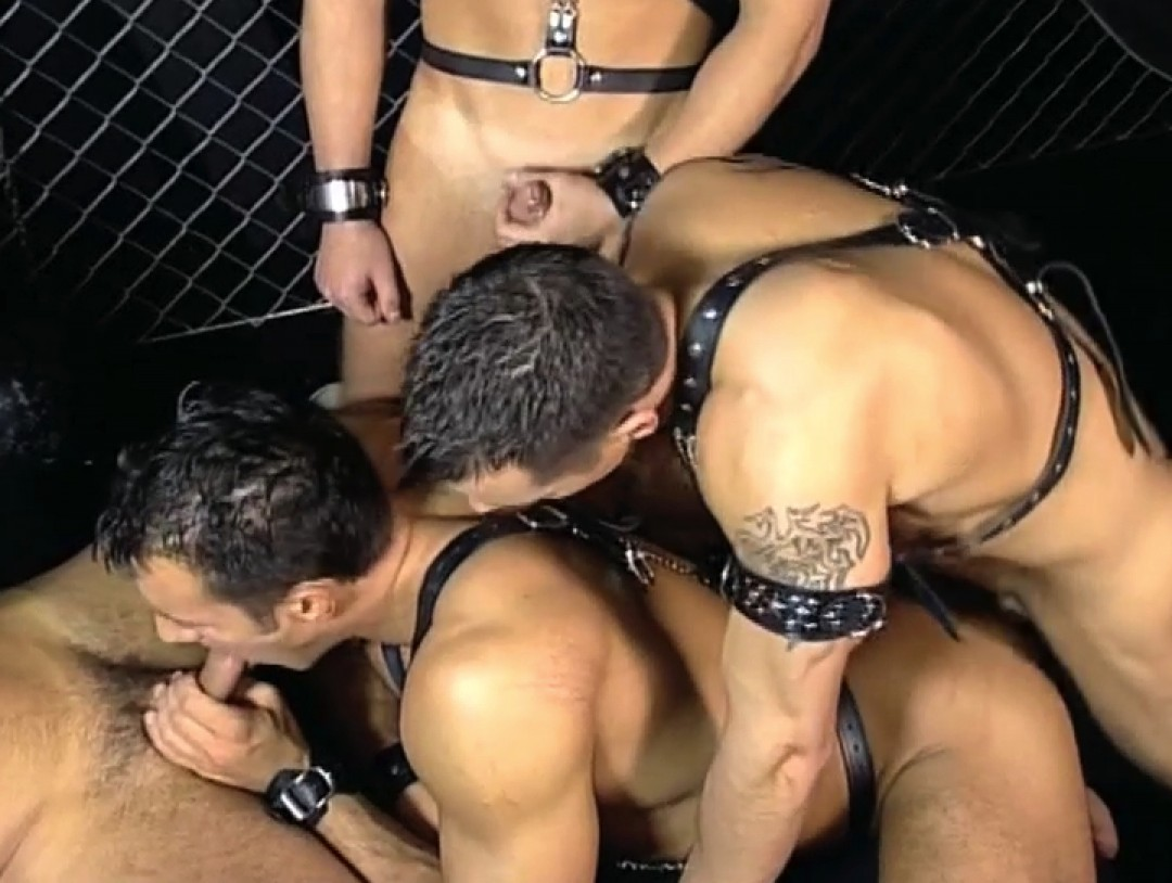 Leather orgy at the gay club