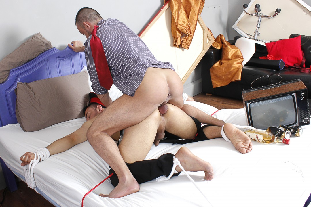 Tied up for cock-service