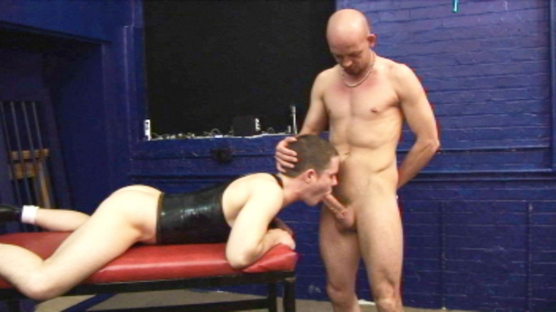 Giant dildo for young sub