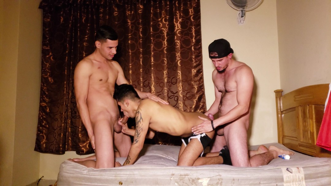 2 macho fuckers for bottom slutty boy