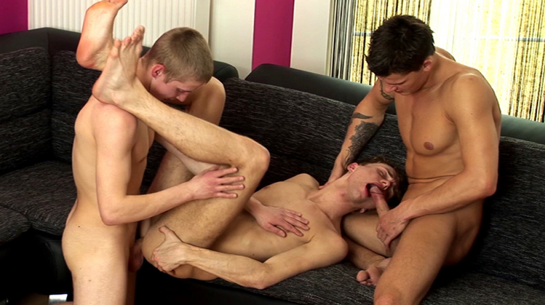 2 cocks and a breeding for the cute gay twink