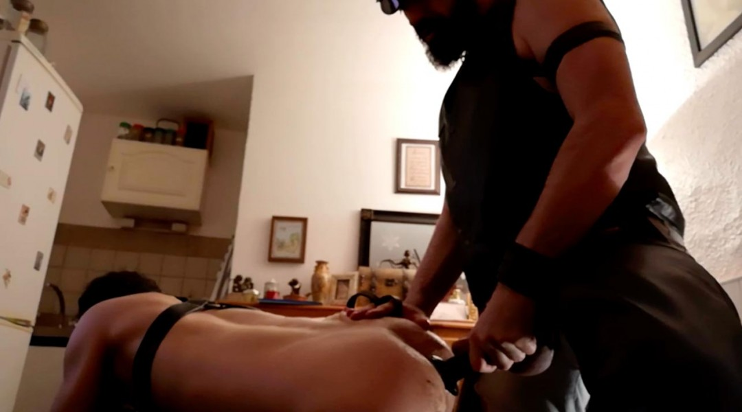 Dog training of a whore by master leather