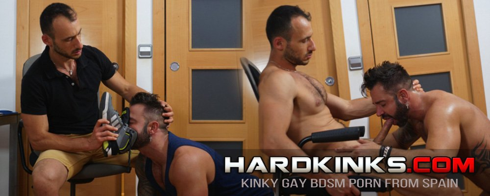 Sneakers, foot licking, foot worship, foot care, gay porn from Spain on hardkinks.com