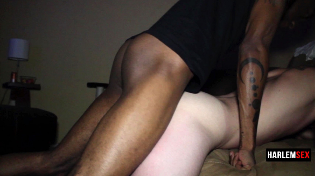 Blindfolded, he enjoys my huge black dick