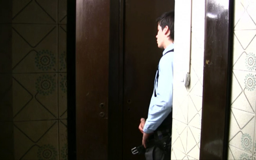 A first fuck in a public toilet