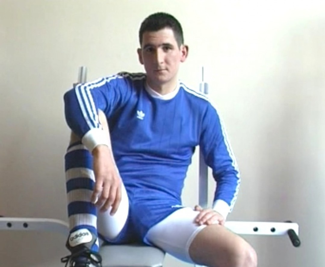 Footballer at the gym