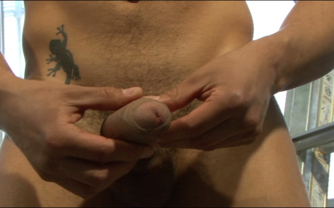 First solo of an inked playboy with XL cock