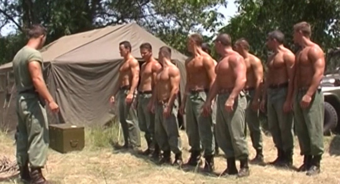 Gay Threesome at the Military Training