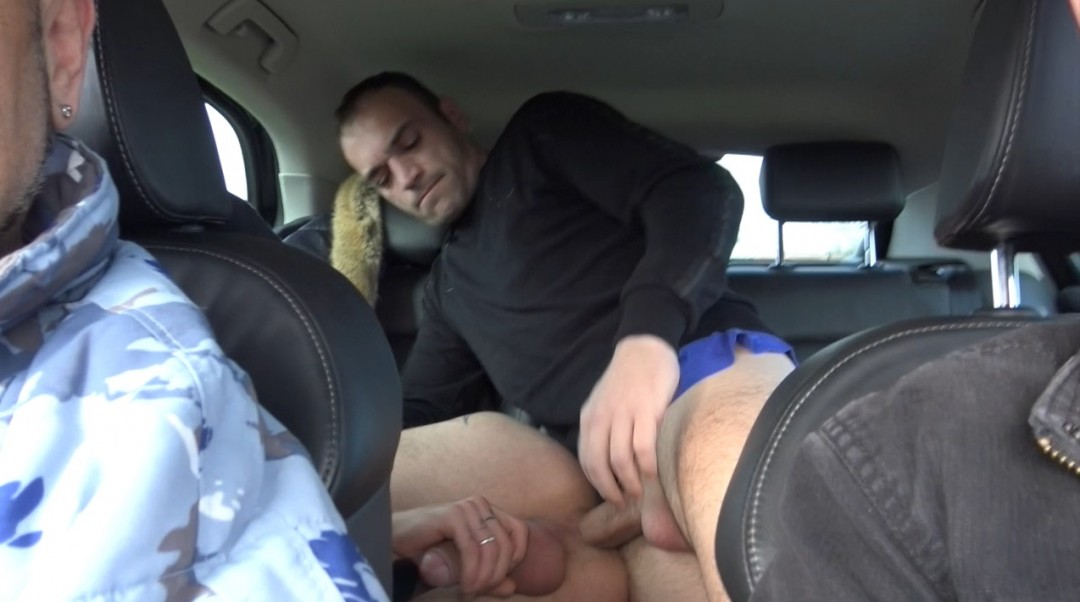 Fucked bareback in the car in the road