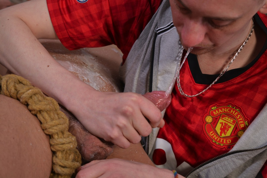 Nathan Hope tied up and milked