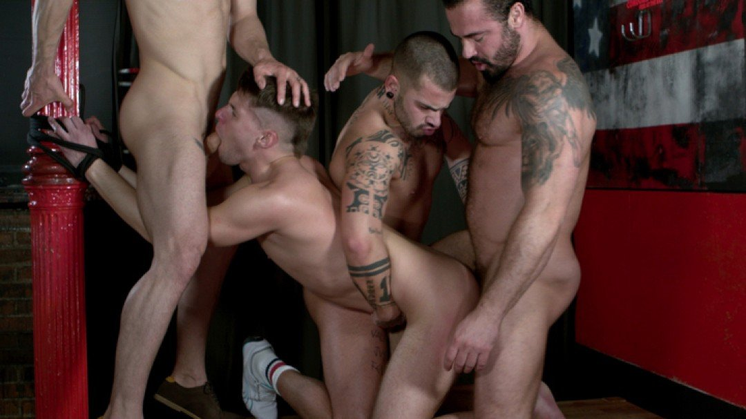 Gay dog slave fucked by 3 alpha males