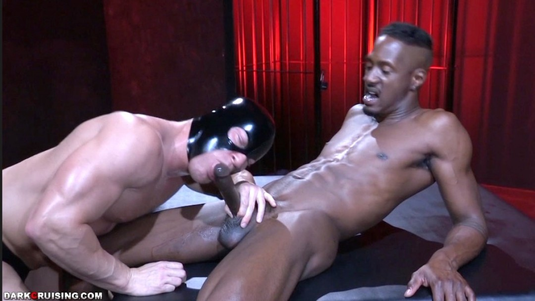 Big black cock for white muscled bottom
