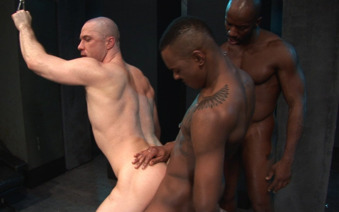 Butch stud for two big black cocks