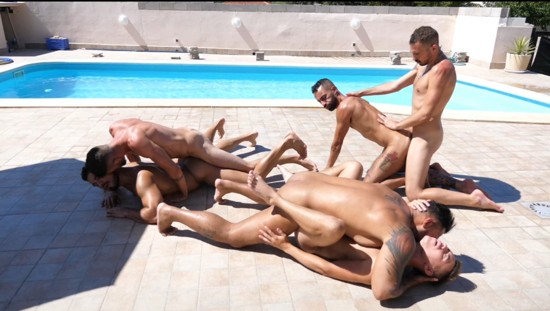 a private pool, horny friends and a brutal orgy