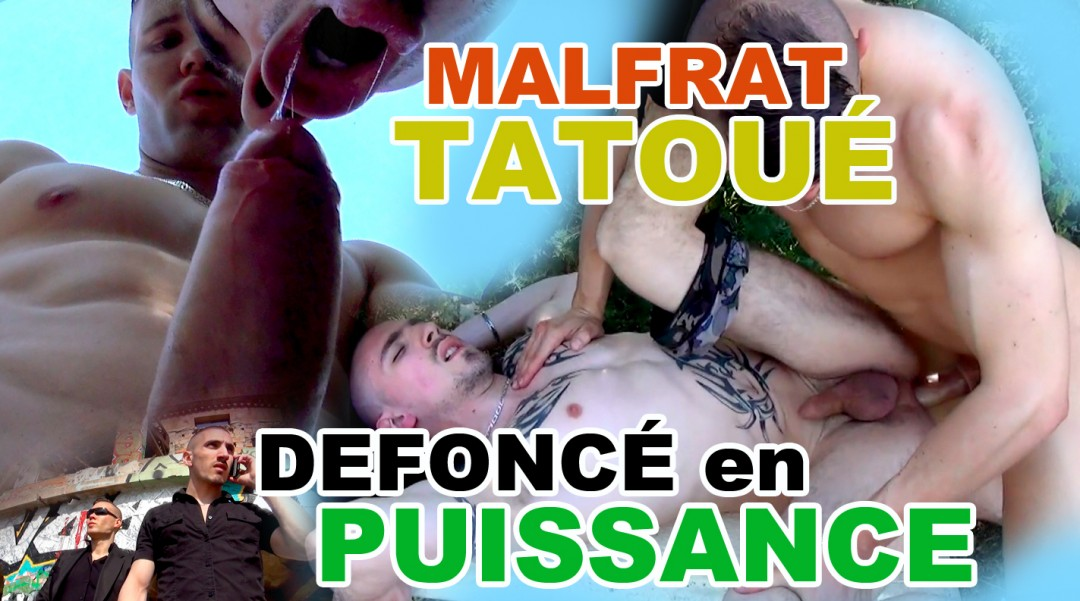 Malfrat tattooed is made dismount in power the orifices by its bodyguard