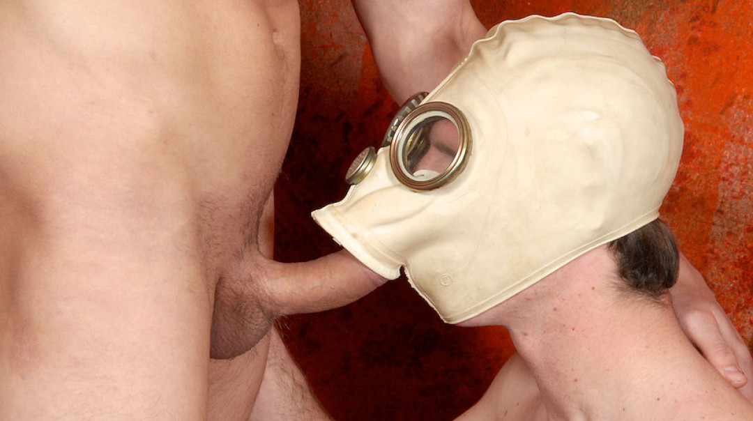 Gay Gas Mask and Bareback fun with a twink