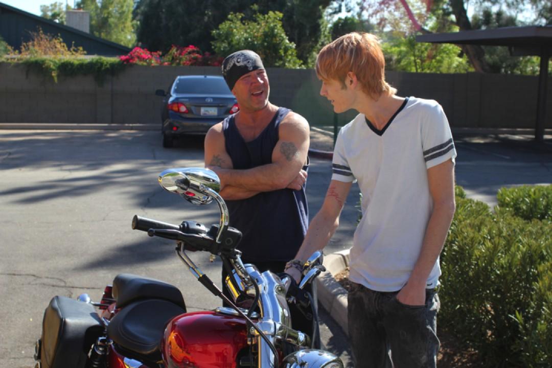 Daddy biker for horny boy