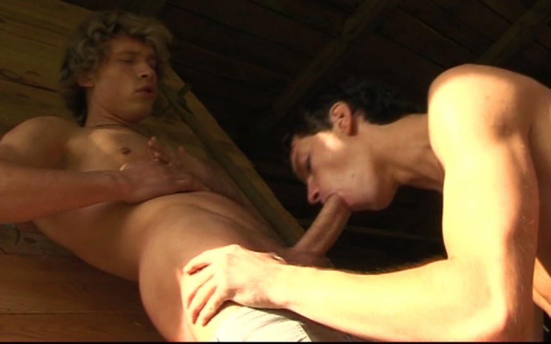 Bent over in the barn