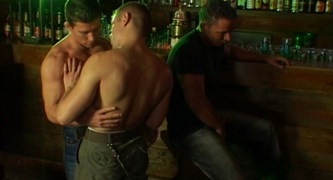 Noisy Gay Group Sex in the middle of the bar
