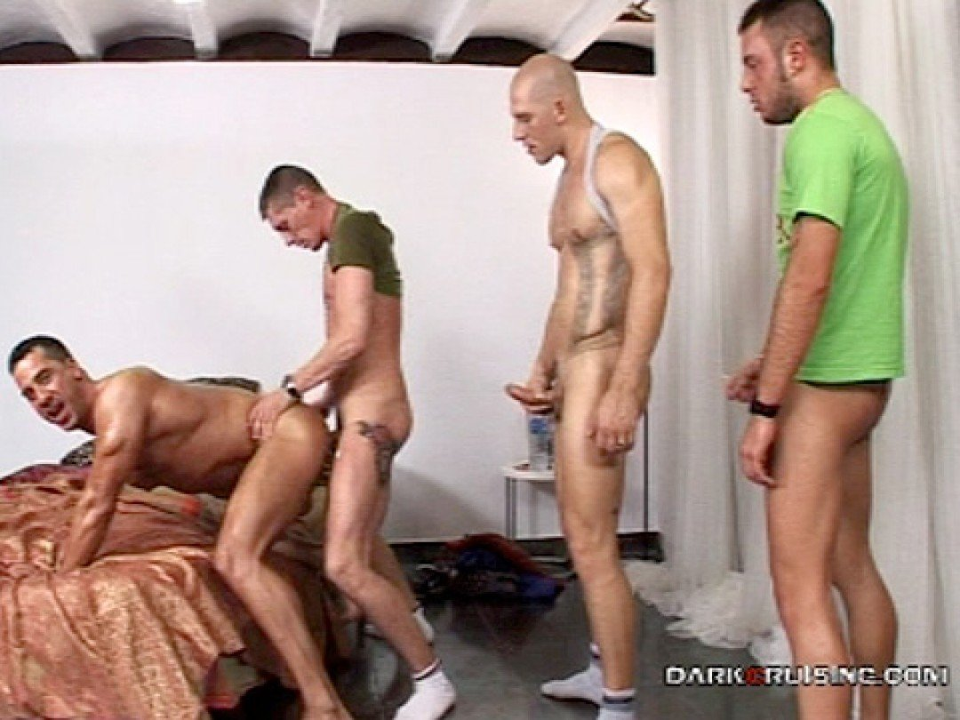 Gang-bang fuck for spanish gay bitch