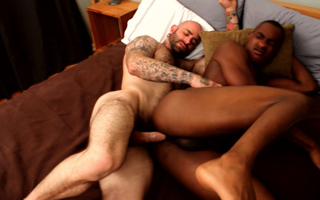 Black stud in the grip of hung skinhead