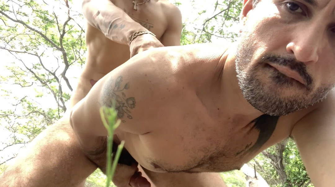 Bareback sex between latinos in the pine forest by the sea
