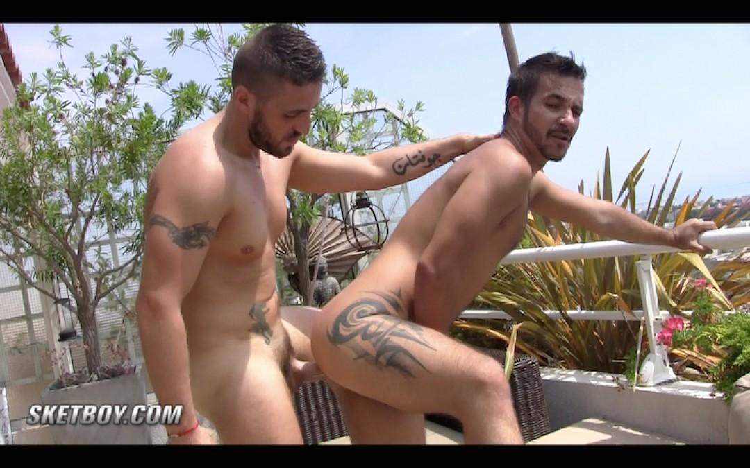 Mathieu Ferhati fucks his buddy on the balcony
