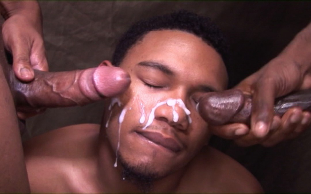 Cute black face covered with two loads