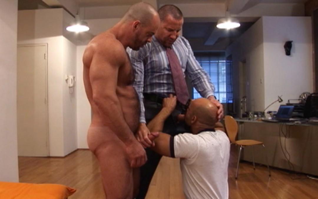 Two business men pick up a slut