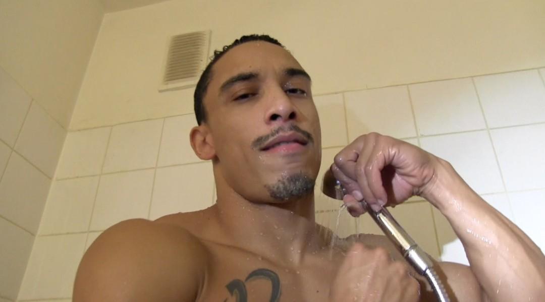 Latino arabic sportsman under shower