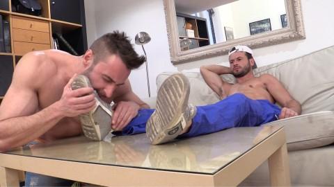 Domestic gay slave licks alpha master's sneakers