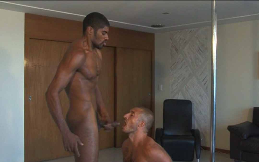 On his knees for a big fat cock