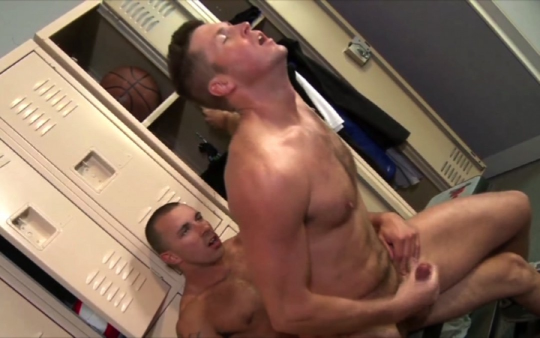 On top of each other in the locker room