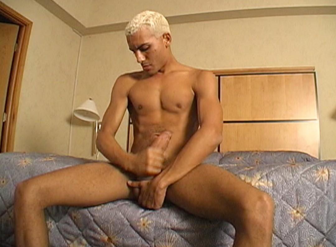 Bleach-blond Latino boy shows off