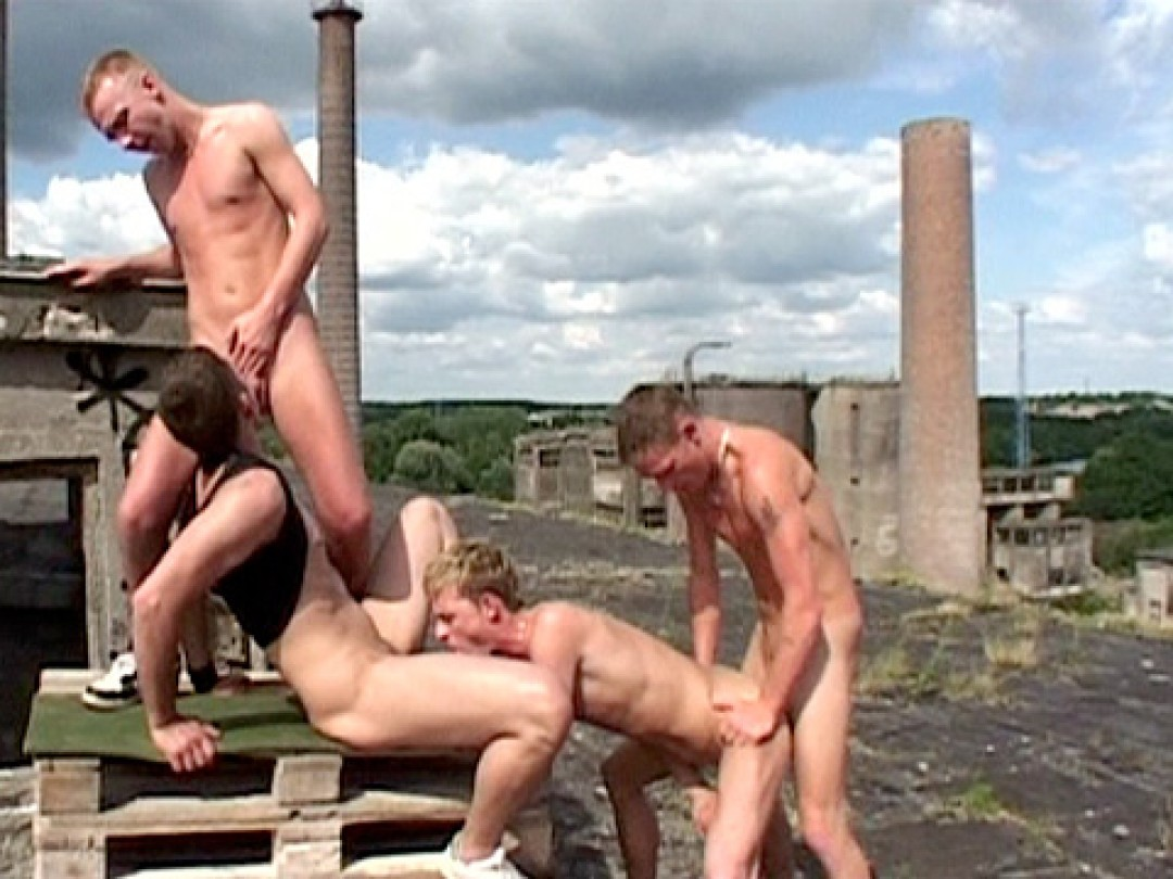 Four big-cock boys on a roof