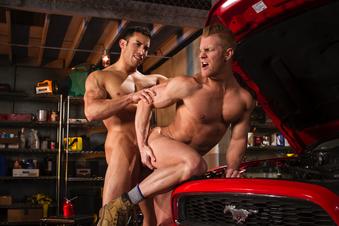 A ginger gay ass in the garage