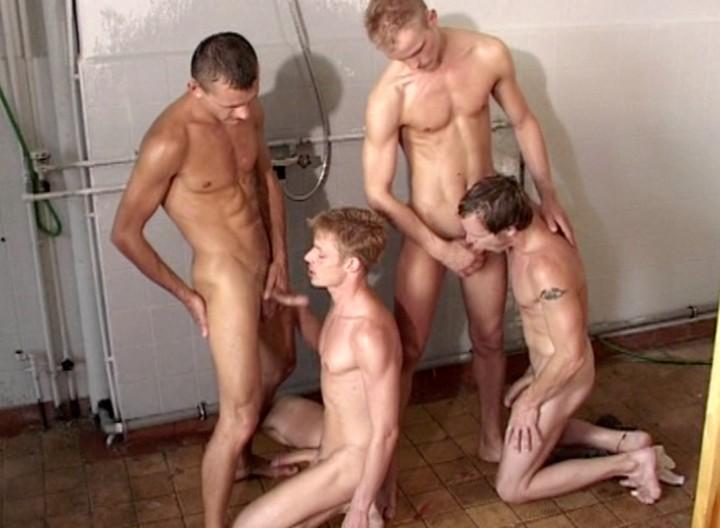 Sucking three roommate cocks