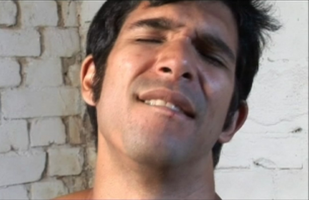 Handsome arab boy locked-up boy wanks his arab cock and shoots a big load