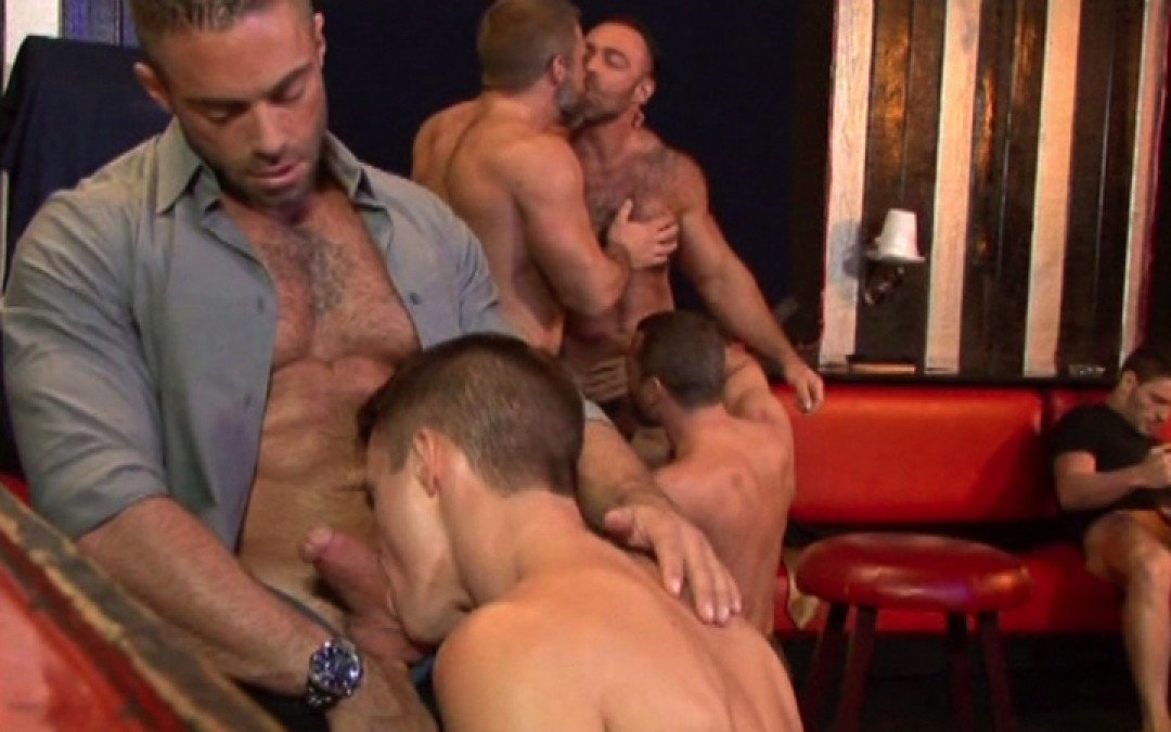 Young gay's first time at the sex-club