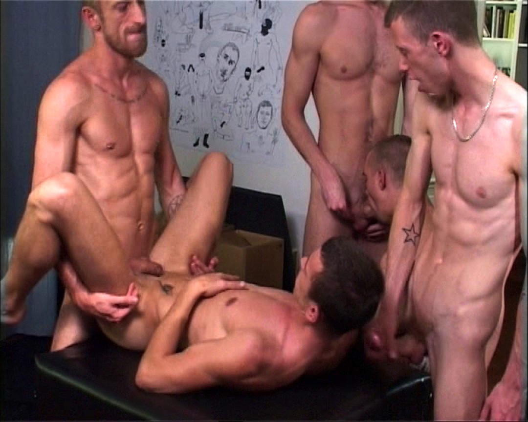 Five muscle-studs in hot action.